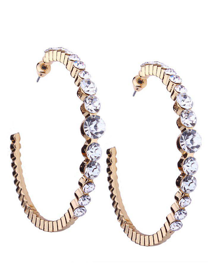 Image of Classic Faux Diamond Inlay Cuff Hoop Earrings