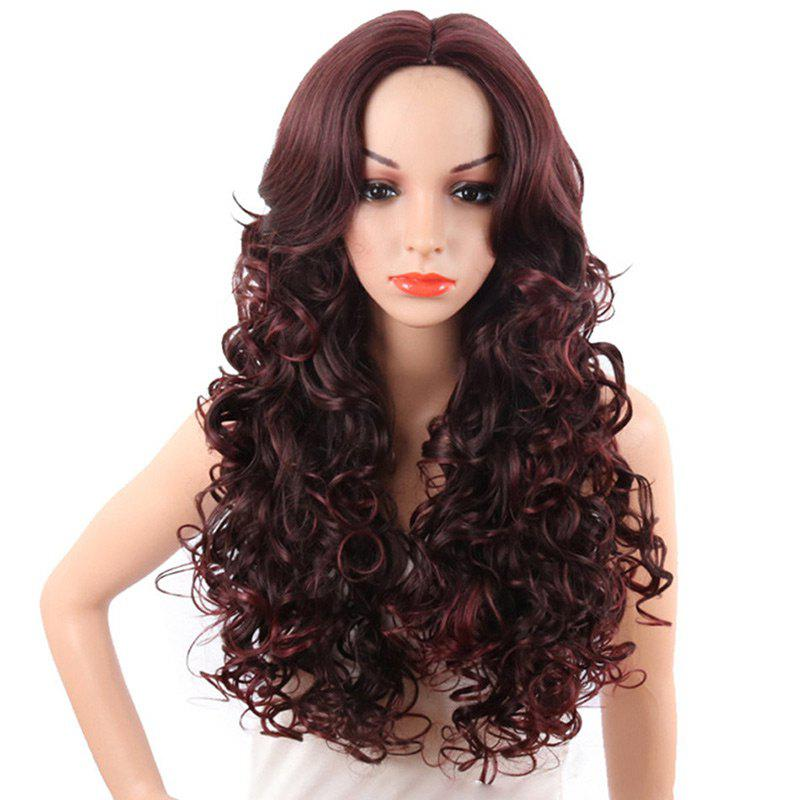 Long Center Parting Colormix Fluffy Wavy Synthetic Wig 252079101
