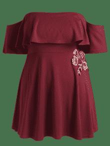 Vestido Con Apliques Patinador Hombros Vino Descubiertos 4xl Rojo q1wqrOU
