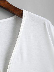 Cremallera Blanco L Media Larga Camiseta Manga Con De 0PnXqB