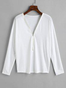 Blanco Cremallera Manga L Media Camiseta Larga Con De qHRggxZY