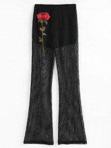 Floral Patched Fishnet Bootcut Pants