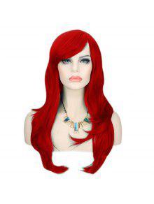 طويل الجانب بانغ الطبقات متموجة تأثيري الباروكة الاصطناعية - أحمر