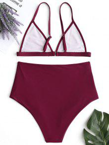 1d9894a91f 2019 Plunge High Waisted Bikini Set In WINE RED M