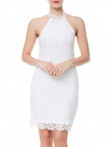العودة الشق فستان الدانتيل - أبيض S