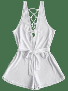 6807f22a533e 27% OFF  2019 Open Back Lace Up Belted Romper In WHITE M