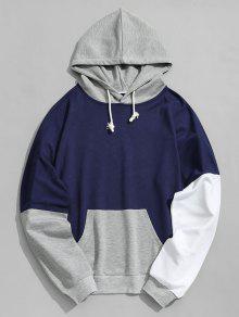 الحقيبة جيب اللون بلوك هوديي - ازرق غامق Xl