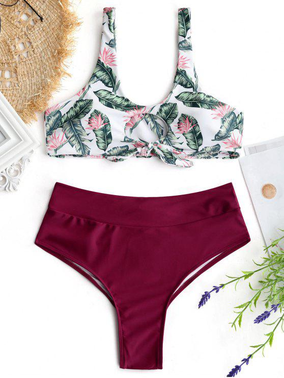 outfit Palm Leaf Bikini Top and Ruched Bottoms - BURGUNDY S