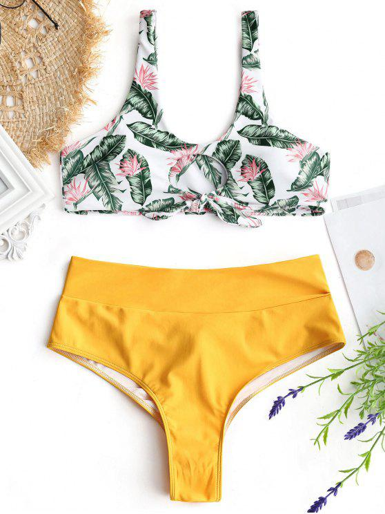 fancy Palm Leaf Bikini Top and Ruched Bottoms - MUSTARD S