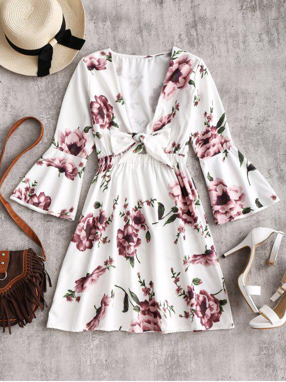 unique Flare Sleeve Plunging Neck Floral Dress - WHITE M