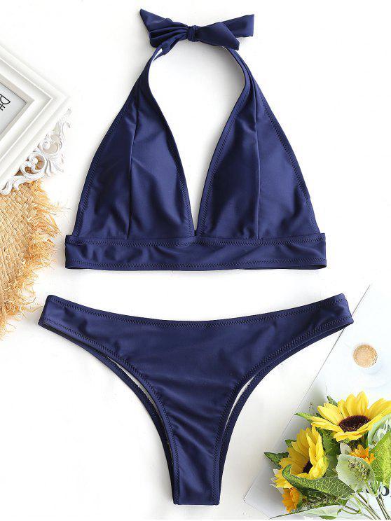 Maillot de Bain String Rembourré Dos-Nu - Bleu Violet L
