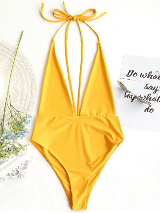 تغرق الرقبة المفتوحة عودة Bralette ملابس السباحة - خردل L