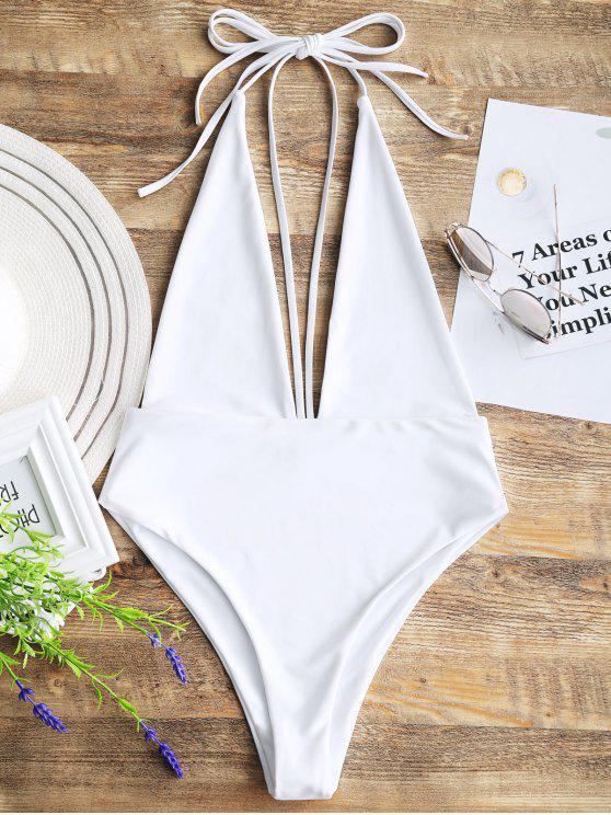latest Plunging Neck Open Back Bralette Swimwear - WHITE L