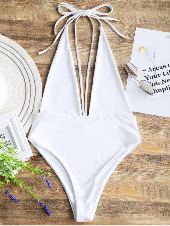 bccff726a46 22% OFF  2019 Plunging Neck Open Back Bralette Swimwear In WHITE