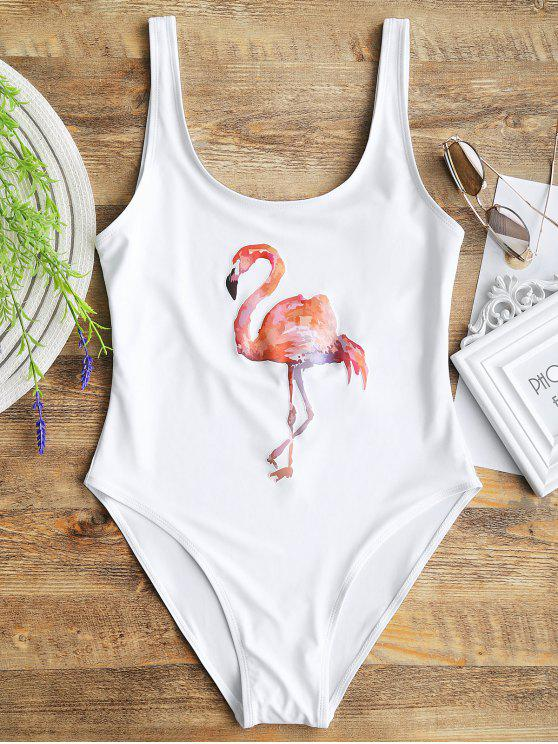 buy High Cut Flamingo Print Swimwear - WHITE S