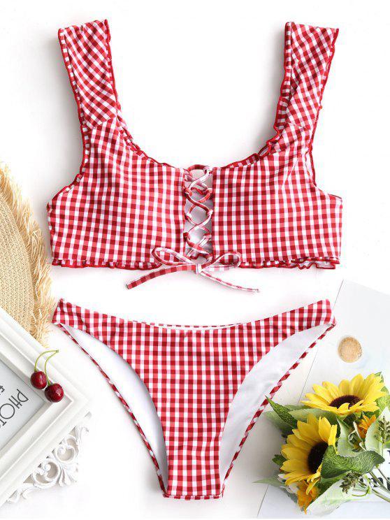 Bikini A Quadri In Pizzo Con Bretella - Rosso e Bianco S
