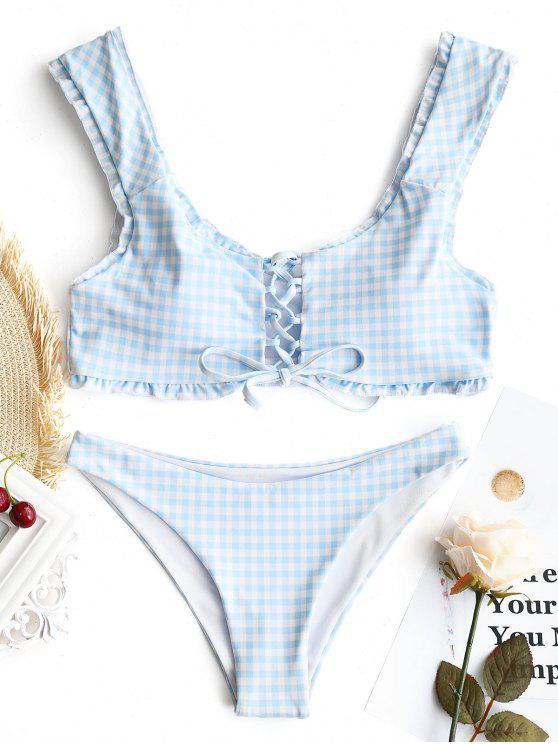 Gingham Lace Up Bralette Bikini Set - Blau & Weiß S