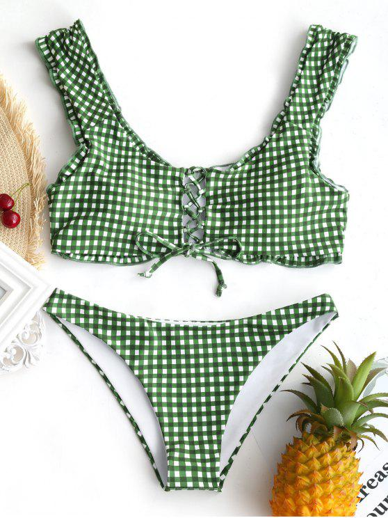 outfits Gingham Lace Up Bralette Bikini Set - WHITE AND GREEN S