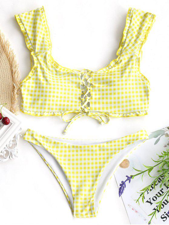 trendy Gingham Lace Up Bralette Bikini Set - WHITE AND YELLOW S