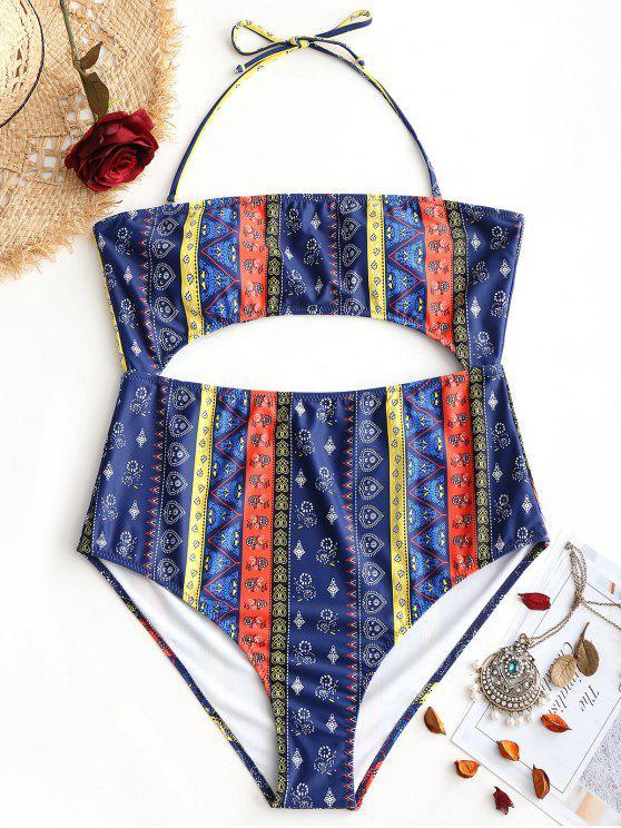 Cut Out Tribe Print Plus Size Swimwear - Cor Mistura XL