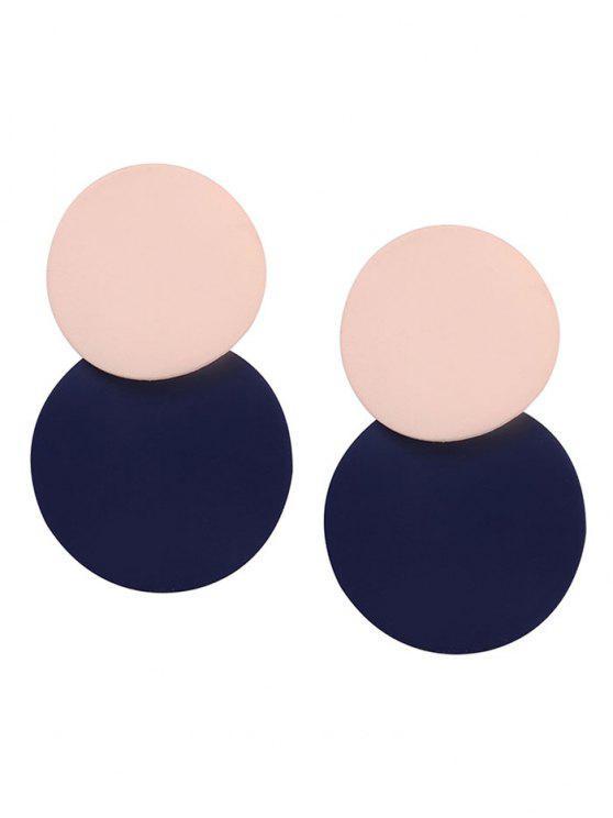 أقراط بلونين مختلفين بتصميم بسيط - الأزرق الوردي