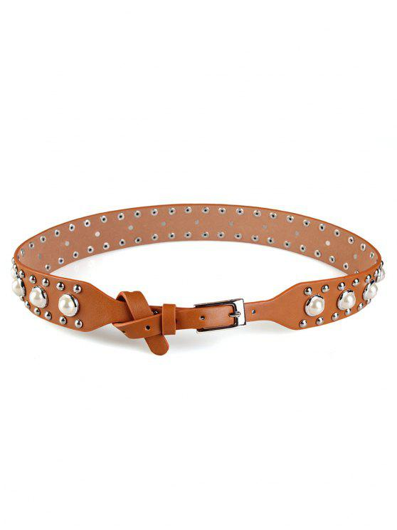 Faux Pearl Studs Wide Belt - Marrón