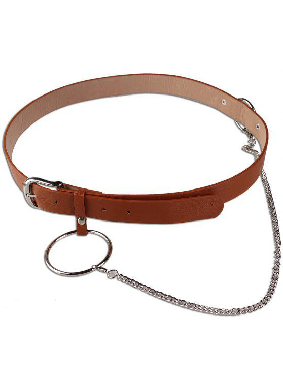 new Large Hoop Chain Pin Buckle Wide Belt - BROWN