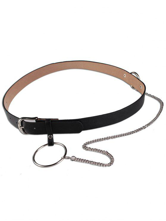 outfit Large Hoop Chain Pin Buckle Wide Belt - BLACK