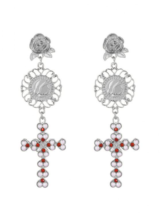 shop Faux Pearl Floral Engraved Crucifix Earrings - SILVER