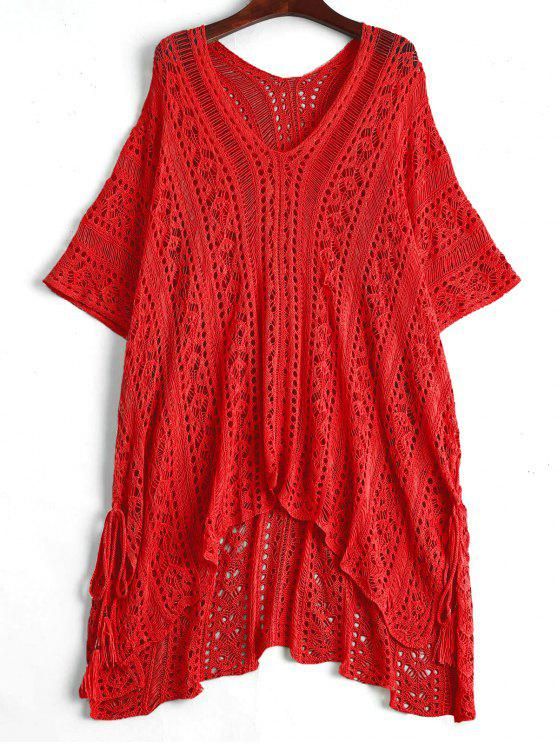 women Open Knit Beach Poncho Cover Up Dress - RED ONE SIZE