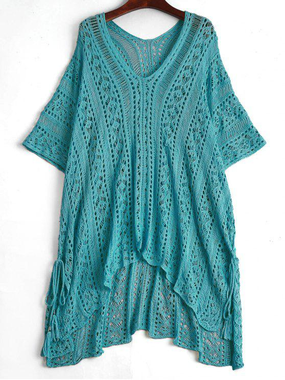 women's Open Knit Beach Poncho Cover Up Dress - LAKE BLUE ONE SIZE