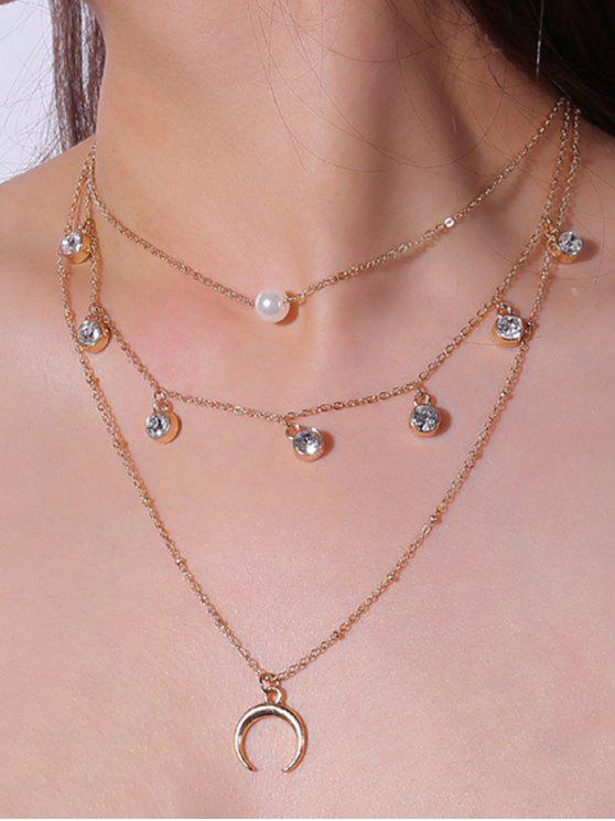 Faux Pearl Rhinestone Tribal Moon Layered Necklace - Dourado