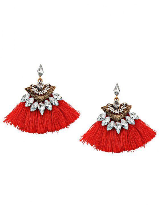 latest Bohemia Style Alloy Geometric Tassel Drop Earrings - RED