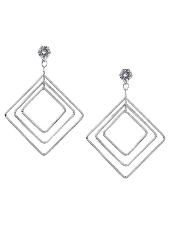 women Vintage Alloy Multideck Geometric Drop Earrings - SILVER