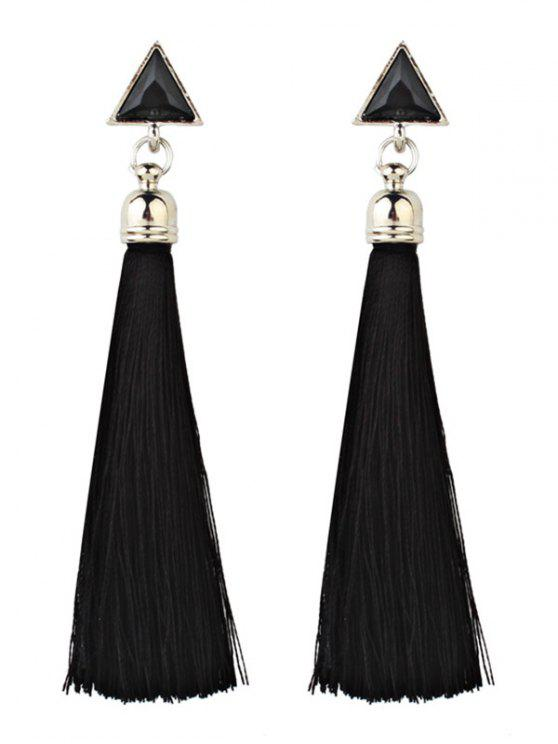 lady Bohemia Triangle and Tassel Long Drop Earrings - BLACK
