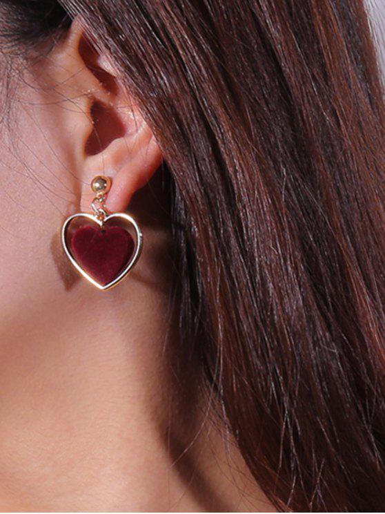 fashion Valentine's Day Love Heart Vintage Earrings - WINE RED