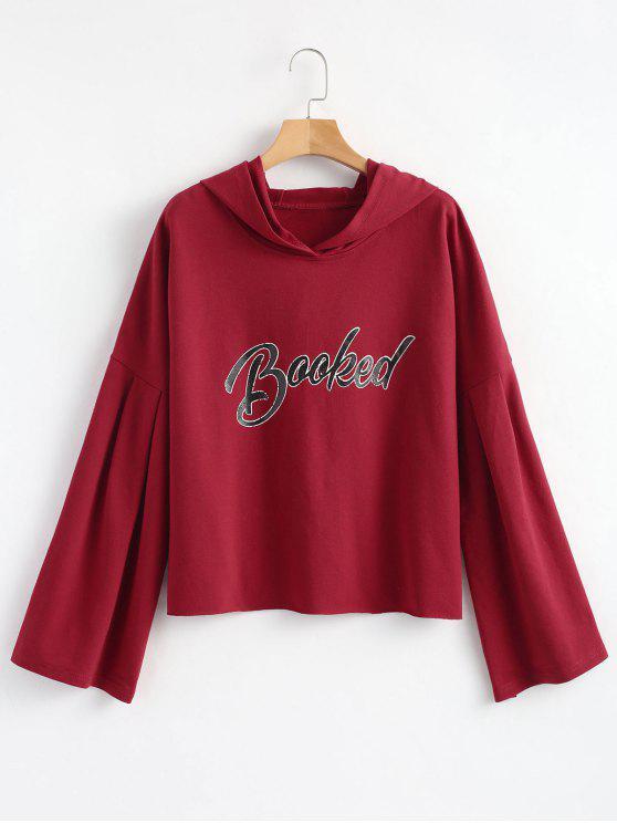 Sudadera con capucha y estampado de letras - Burdeos L
