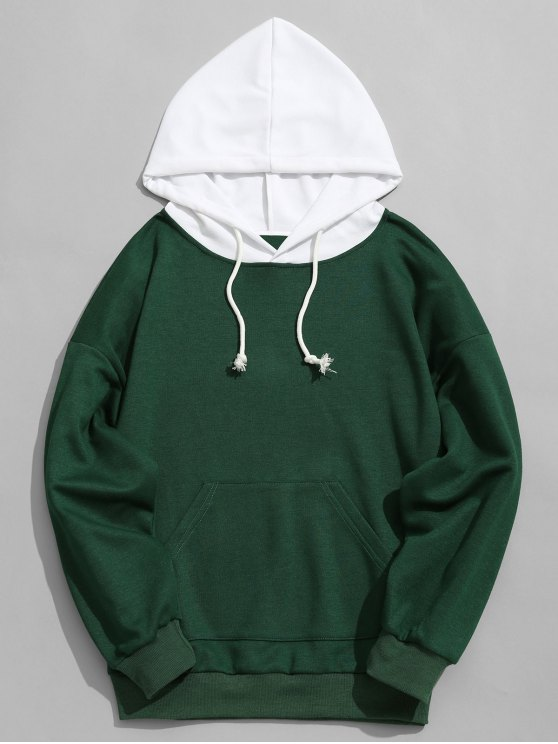 32% OFF  2019 Contrast Hood Mens Hoodie Men Clothes In GREEN S  07c5342f961a