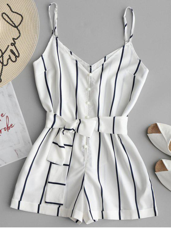 trendy Striped Belted Cami Romper - WHITE L