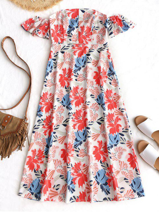 fancy Off Shoulder High Waist Floral Dress - FLORAL M