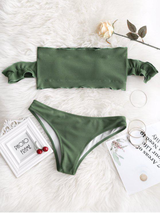 best Off Shoulder Ruffles Ribbed Bikini - ARMY GREEN M