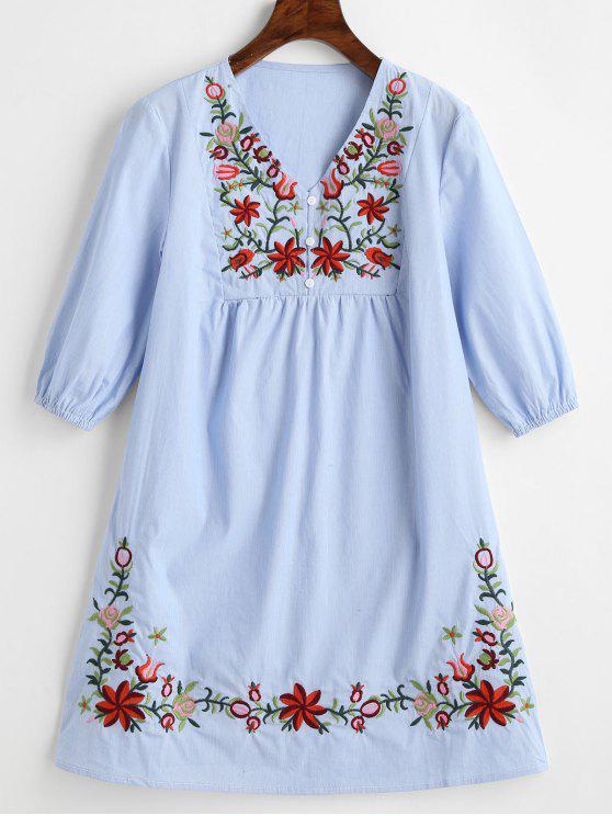 فستان مخطط مرقع بالأزهار غارق الرقبة - أزرق فاتح XL