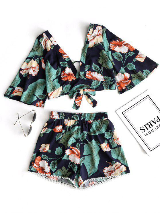 sale Floral Cropped Top and Lace Trim High Waisted Shorts - GREEN M