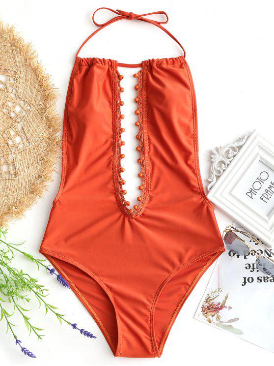 fancy Plunging Neck Beaded One-piece Swimwear - JACINTH M