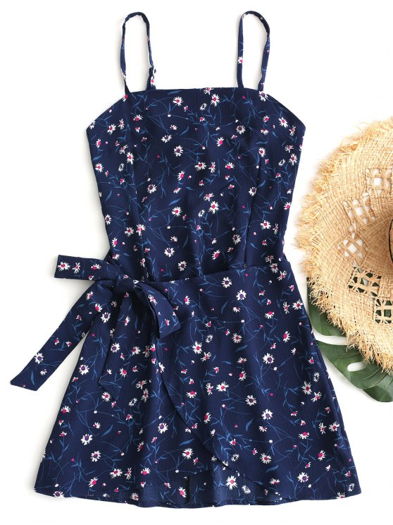 GeschichtetesSchleife Ausgeschnittenes Minikleid - Blau L