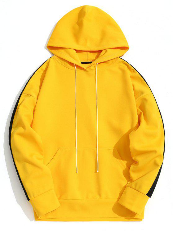 best Kangaroo Pocket Contrast Color Hoodie Men Clothes - YELLOW L