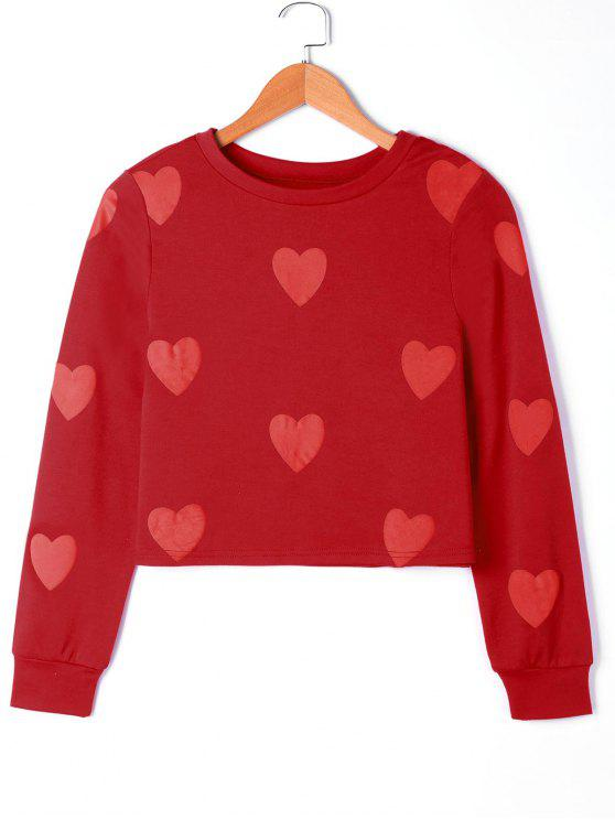 Sweat-shirt à Motif Coeur - Rouge S