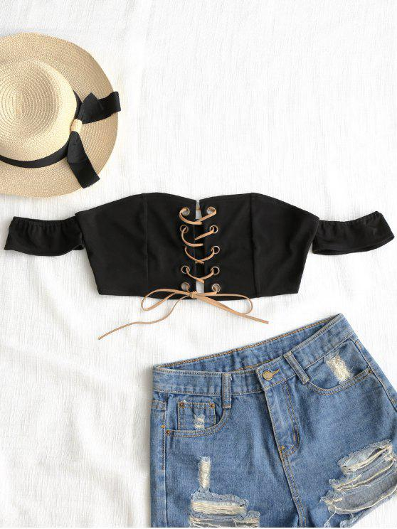 Cropped Off Shoulder Lace Up Top