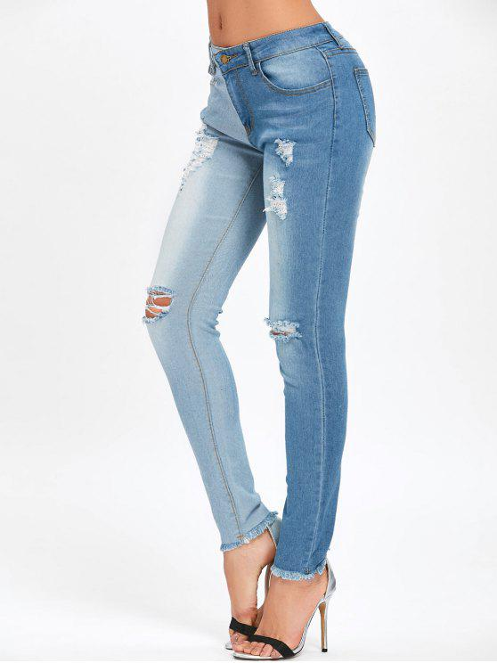 women Frayed Hem Ripped Two Tone Jeans - BLUE XL