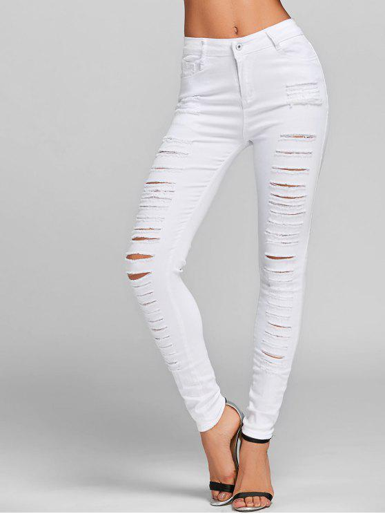 ladies Distressed Skinny Jeans with Pockets - WHITE S